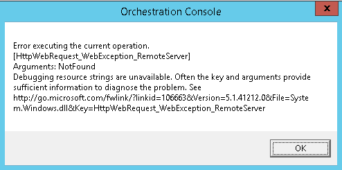System Center Orchestrator 'Error executing the current